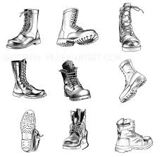 fashion boots drawing. particularly combat boots-- various types at angles. also included the shading for each boot to get a better sense of form and how reflections fashion boots drawing l