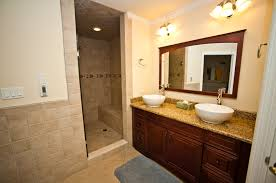 bathroom traditional cherry blossom wooden vanity with white bowl washbasin plus rectangular brown wooden wall
