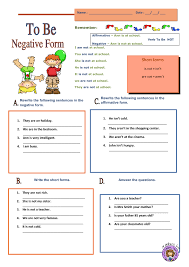 form of be verb verb to be negative form