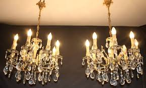 pair of vintage french brass chandeliers two 8 arm brass glass ceiling lights ref ajl11