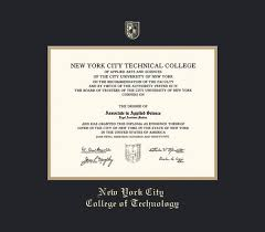 custom diploma frames certificate frames framing success nyc  new york city college of technology diploma associate 9 02 to present frame black and gold double mat and gold embossing