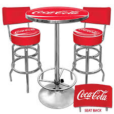coca cola 2 bar stools backs table red chrome cans bottles opener tablecloth new