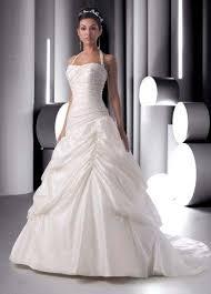ruched halter wedding gown