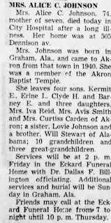 Obituary for ALICE C. JOHNSON (Aged 74) - Newspapers.com