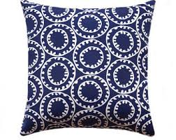 Navy Blue and White Outdoor Pillow Cover Sailing Theme
