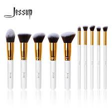 jessup brush professional 10pcs kabuki white gold makeup brushes set beauty foundation cosmetics make up