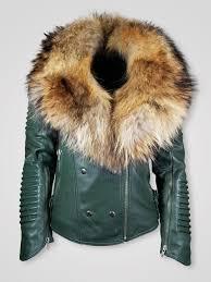 women s moto jacket with italian leather finish and detachable fox rac collar shiny white