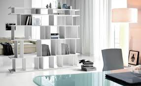 m modern interior home office decorating ideas featuring fascinating glass tabletops and enganing white wooden bookshelf in middle near elegant round drum building home office witching