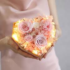 Free Shipping Creative heart-shaped <b>eternal flower</b> gift <b>box finished</b> ...
