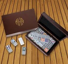 domino set with personalized wood case