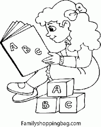 Small Picture Girl Reading with Blocks School Coloring Pages Free Printable