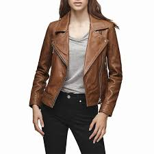 reiss leather biker jacket short long sleeve