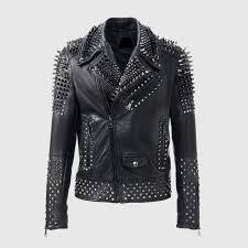 brando zipper all sizes silver studded leather jacket
