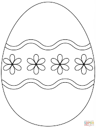 Small Picture Easter Egg with Simple Flower Pattern coloring page Free