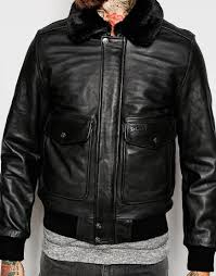 schott nyc leather flight jacket with faux fur collar in black for men lyst
