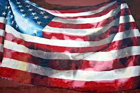 an american flag painted