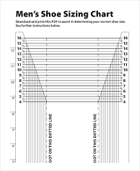 Print Size Chart Printable Shoe Size Chart 9 Free Pdf Documents Download