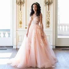 peach wedding dress. Discount Sexy Deep V Neck Long Peach Wedding Dresses With Applique