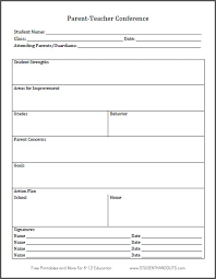 parent conference template parent teacher conference log sheet free to print parent