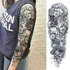 водонепроницаемая временная татуировка наклейка красивый цветок полная рука