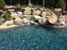 Stroud Township salt water pool with spa sunshelf slide and