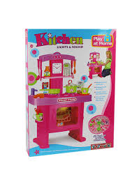 pink electronic childrens kids kitchen cooking role play fun toy cooker set