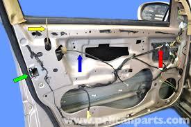 mercedes benz w203 front door lock removal 2001 2007 c230 c280 rh pelicanparts com car door light switch wiring diagram car door wiring harness