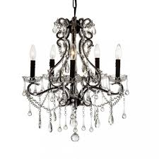 new decomust wrought iron crystal chandelier lighting 5 light candle h24 x dia 20