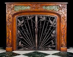 glamorous entranching art deco fireplace screen antique nouveau fire on