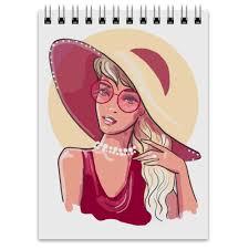 Блокнот Модная <b>девушка</b> в большой шляпе. <b>Фэшн иллюстрация</b> ...