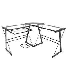 ryan rove madison 3 piece corner l shaped computer desk in black in madison clear glass