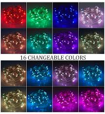 Colored String Lights Led Fairy Lights Rgb Battery Operated With Remote Control Multi Color Changing String Lights Waterproof 16 Colors 16 4ft 50 Leds Kids Save