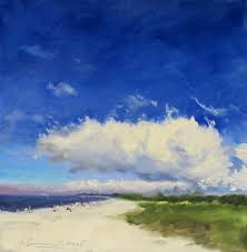 near sunset beach cape may oil w c paper 15x15 framed plein air white sweeney joseph 12 4 2016