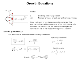 growth equations tdtd where t d doubling time of population