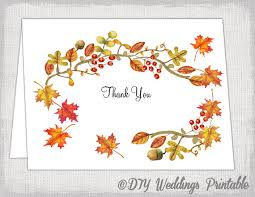 printable thanksgiving greeting cards thank you card template autumn wedding template