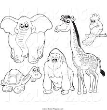 Printable Coloring Pages coloring page giraffe : Vector Coloring Page of a Lineart Elephant Tortoise Gorilla ...