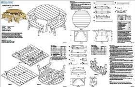 project plans classic round picnic table set woodworking plans pattern odf13 offers