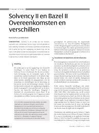 PDF) Solvency II en Bazel II Overeenkomsten en verschillen