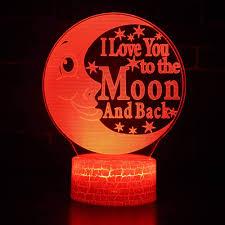 Kids Red Night Light 2 Pack 3d Led Night Light Java Lamp Moon Letters 7 Color