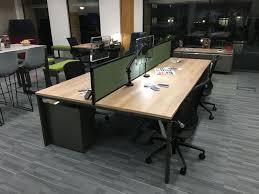clear office desk. Elegant Industrial Office Desk Furniture : Unique 9827 Bench Desking With Clear Coat Frame And Nebraska Oak Tops Set