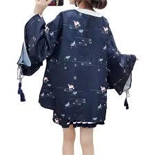 Paper Crane Size Chart Haori Japanese Wave Pattern Paper Crane Kimono Jacket Foxtume