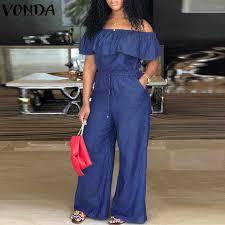 VONDA <b>Elegant Women V neck Jumpsuits</b> Summer Long Sleeve ...