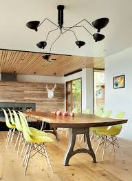 ... Serge Mouille Lighting  Dinning Rooms:Minimalist Dining Room With Cool  Live Edge Dining Table And Yellow Chairs Under