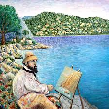 artist painting claude monet painting in south of france by andrew osta