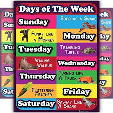 Week Days Chart Days Of The Week Lamintated Educational Chart Fun Poster For Kids And Teachers With Funny Lines And Animals