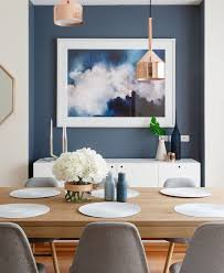 breakfast table lighting. photography jeremy blode styling and design little liberty interiors blue feature wall in dining room with art copper pendants light wood table breakfast lighting r