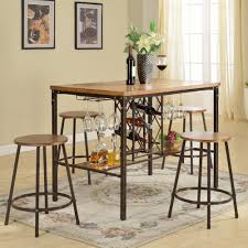 black dining room sets. Vintner 5-Piece Black Metal And Natural Wood Pub Set Dining Room Sets E
