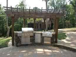 Exterior  Simple Vintage Outdoor Kitchen Patio Designs Using - Outdoor kitchen countertop ideas