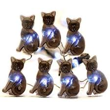 Halloween Cat Lights Impress Life Halloween Party String Lights Black Cat Shape 10 Ft Silver Wire 40