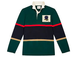 1926 rose embroidered striped rugby